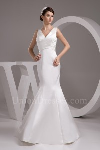 Simple Mermaid V Neck Ruched White Satin Wedding Dress Bridal Gown No Lace