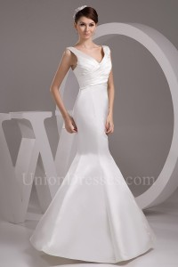 Simple Mermaid V Neck Ruched White Satin Wedding Dress Bridal Gown No Train
