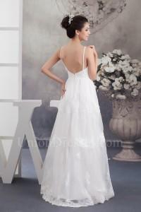 Beautiful A Line Low Back Spaghetti Straps Beaded Lace Organza Wedding Dress No Train
