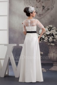 Modest A Line Short Sleeve Lace Top Wedding Dress With Black Sash No Train