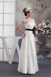Modest A Line Short Sleeve Lace Top Wedding Dress With Black Sash