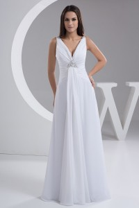 V Neck Beaded White Chiffon Beach Destination Wedding Dress Without Train Lace