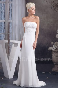 Modest Mermaid With Jacket Beaded Appliques Ruched Chiffon Beach Wedding Dress