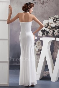 Charming Sheath Halter Beaded Chiffon Beach Destination Wedding Dress No Train