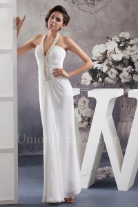 Charming Sheath Halter Beaded Chiffon Beach Destination Wedding Dress No Lace