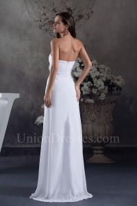 Beautiful A Line Strapless Ruched Chiffon Beach Destination Wedding Dress No Train
