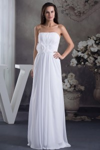 Beautiful A Line Strapless Ruched Chiffon Beach Destination Wedding Dress With Flower
