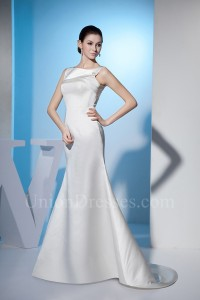 Modest Mermaid Boat Neckline Crystal Beaded Satin Wedding Dress Bridal Gown