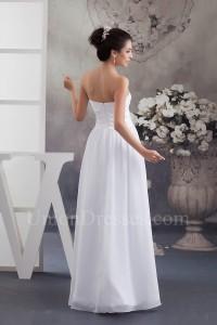 Simple A Line Strapless Ruched Chiffon Beach Destination Wedding Dress No Train