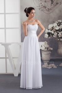Simple A Line Strapless Ruched Chiffon Beach Destination Wedding Dress No Lace