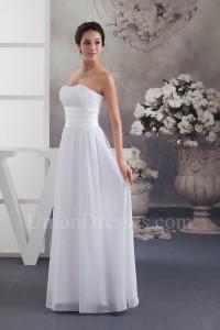 Simple A Line Strapless Ruched Chiffon Beach Destination Wedding Dress Bridal Gown