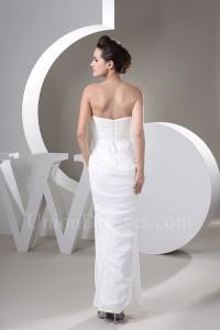 Sexy Sheath Sweetheart High Slit Ruched White Chiffon Beach Wedding Dress No Train