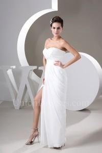 Sexy Sheath Sweetheart High Slit Ruched White Chiffon Beach Wedding Dress No Lace