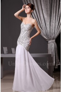 Gorgeous Mermaid Sweetheart Crystal Beaded Chiffon Wedding Dress Without Train