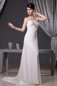 Simple A Line Strapless Ruched Silk Wedding Dress Bridal Gown