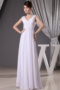 Beautiful Empire V Neck Crystal Beaded Chiffon Maternity Bridal Gown Pregnancy Wedding Dress