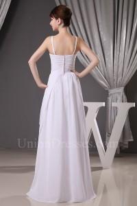 Spaghetti Straps Beaded White Chiffon Wedding Dress With Draping No Train