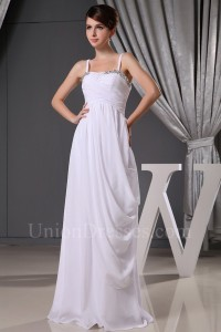 Spaghetti Straps Beaded White Chiffon Wedding Dress With Draping
