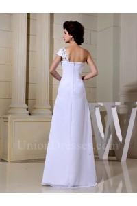 Asymmetrical One Shoulder Cap Sleeve Crystal Beaded Chiffon Wedding Dress No Train