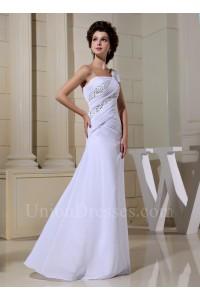Asymmetrical One Shoulder Cap Sleeve Crystal Beaded Chiffon Wedding Dress