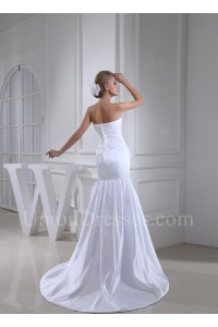Royal Mermaid Strapless Ruched White Satin Wedding Dress Bridal Gown
