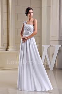 Asymmetrical One Shoulder Crystal Beaded White Chiffon Beach Destination Wedding Dress