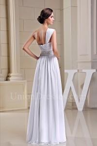 Asymmetrical One Shoulder Crystal Beaded White Chiffon Beach Destination Wedding Dress No Train