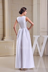Simple A Line Plain White Taffeta Beach Destination Wedding Dress Bridal Gown Full Back