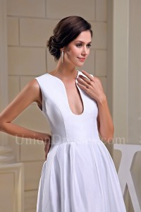 Simple A Line Plain White Taffeta Beach Destination Wedding Dress Bridal Gown