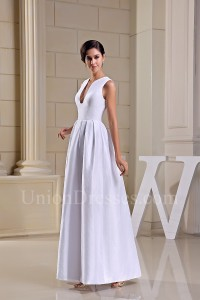 Simple A Line Plain White Taffeta Beach Destination Wedding Dress No Lace No Train