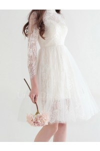 Modest High Neck Long Sleeve Lace Knee Length A Line Wedding Dress