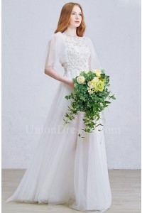 Boho Beaded Lace Sheer Tulle A Line Wedding Dress With Detachable Butterfly sleeves