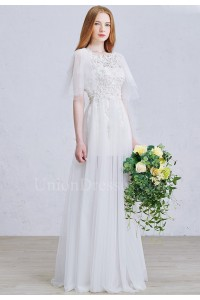 Boho Beaded Lace Sheer Tulle A Line Wedding Dress With Detachable Butterfly sleeves No Train