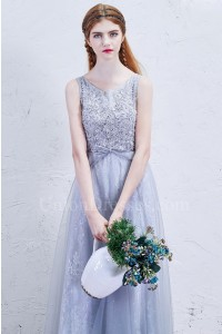 Romantic Scoop Embellished Dusty Blue Lace A Line Prom Bridesmaid Dress With Bow