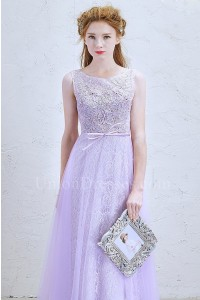Romantic Scoop Embellished Lilac Lace A Line Prom Bridesmaid Dress With Bow