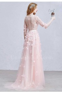 Gorgeous V Neck Half Sleeve Crystal Beaded Blush Pink Tulle A Line Prom Bridesmaid Dress With Flower