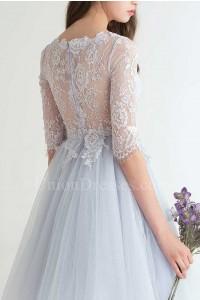 Elegant Boat Neckline Half Sleeve Sheer Back Lace Bodice Dusty Blue Tulle Skirt A Line Prom Bridesmaid Dress