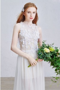 Boho High Neck Dotted Tulle Bodice Sheer Skirt A Line Wedding Dress With Butterfly Appliques