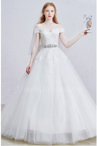 Princess Off The Shoulder Embellished Sash Beaded Lace Tulle Skirt Ball Gown Wedding Dress