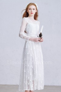 Modest Scoop Long Sleeve Beaded Lace A Line Wedding Dress With Buttons
