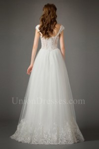 Romantic Sweetheart Cap Sleeve Corset Lace Bodice Tulle Skirt Wedding Dress No Train