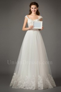 Romantic Sweetheart Cap Sleeve Corset Lace Bodice Tulle Skirt Wedding Dress