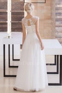 Beautiful Scoop Cap Sleeve Beaded Appliques Tulle Skirt A Line Wedding Dress Keyhole back No Train