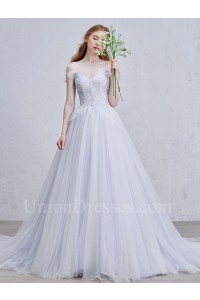 Romantic Off The Shoulder Corset Embellished Grey Tulle Ball Gown Prom Quinceanera Dress
