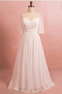 A Line Bateau Illusion Neckline Corset Chiffon Plus Size Wedding Dress With Sleeves