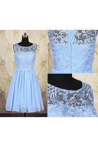 A Line Boat Neck Short Light Blue Chiffon Lace Graduation Party Prom Dress