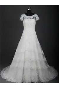 A Line Boat Neck Short Sleeve Lace Beaded Wedding Dress