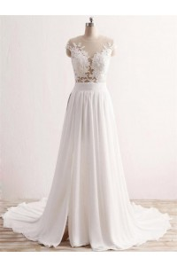 A Line Cap Sleeve See Through Tulle Lace Chiffon Wedding Dress With Slit