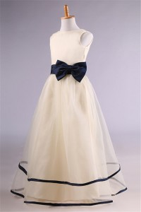 A Line Champagne Satin Tulle Navy Blue Sash Flower Girl Dress