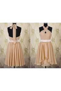 A Line Halter Short Champagne Chiffon Ruched Party Bridesmaid Dress With Sash